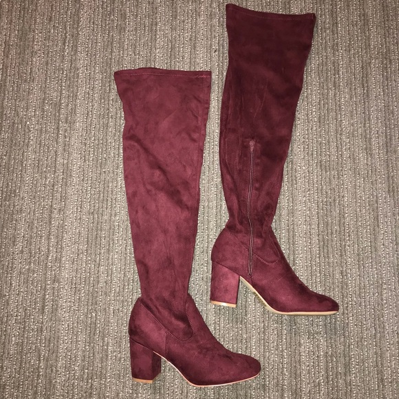 d5c463b531c JustFab Shoes - Maroon   burgundy faux suede over the knee boots
